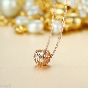 Only Pendant Gift Pure Au750 18K Rose Gold Women's Hollow Ball Bead...
