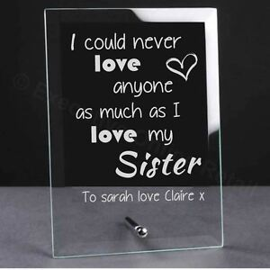 Image Is Loading Personalised Engraved Glass Plaque For Your Sister