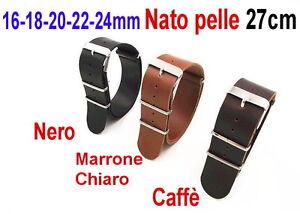 CINTURINO-OROLOGIO-PELLE-G10-NATO-16mm-18mm-20mm-22mm-24mm-Nero-Marrone-scuro