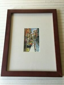 Di-Rey-Original-Watercolor-Venetian-Landscape-Signed-Framed-4-034-x-6-3-4-034-Image