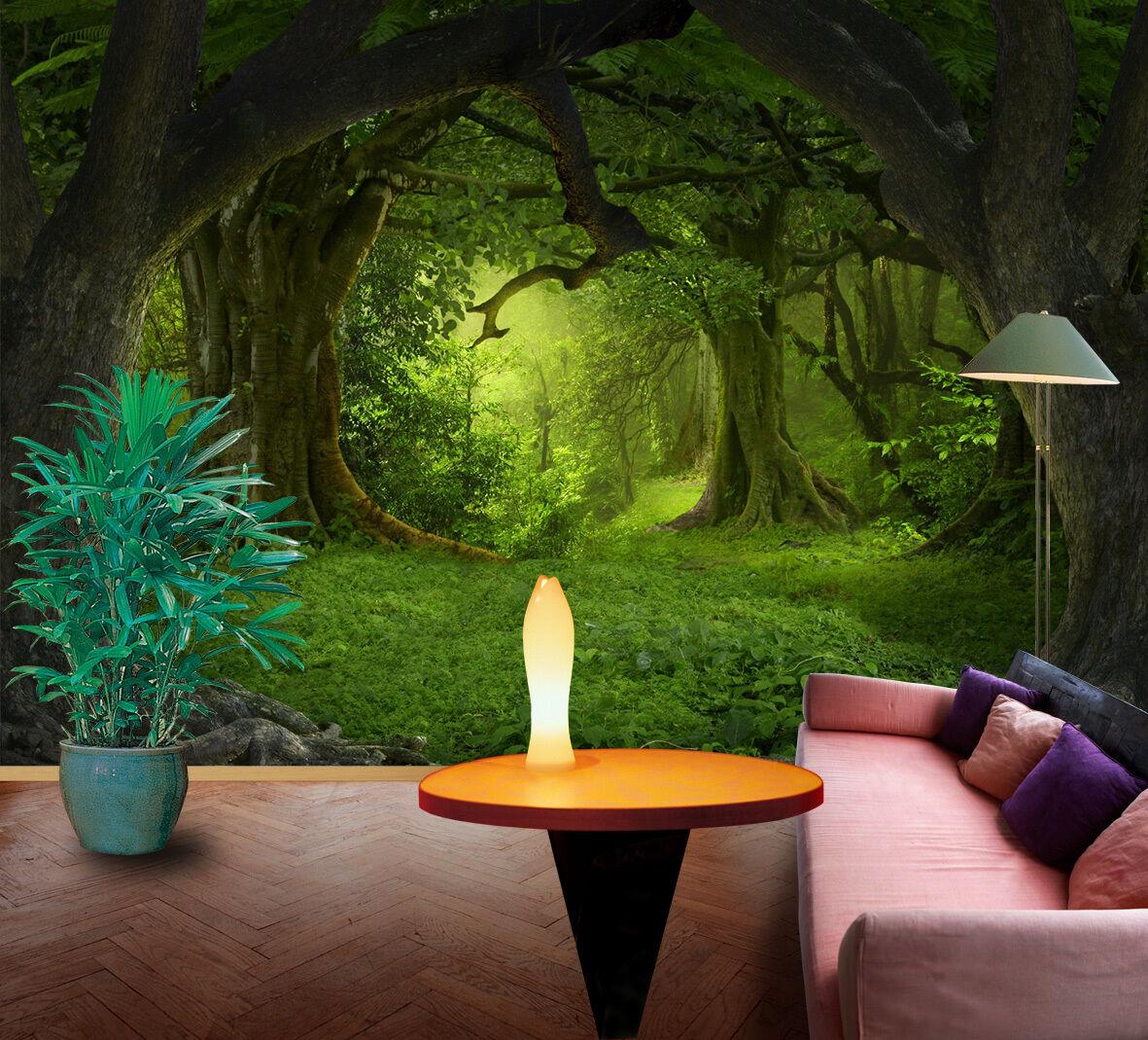3D Mystère Forêt 28 Photo Papier Peint en Autocollant Murale Plafond Chambre Art