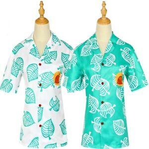 Animal-Crossing-T-Shirt-Cosplay-Costume-Tom-Nook-Leaf-Print-Short-Sleeve-Tops