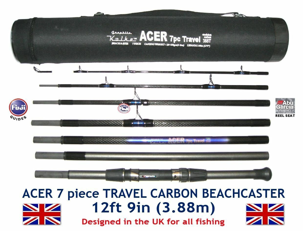 KOIKE 7pc ACER CARBON TRAVEL BEACHCASTER 12'9 Fuji Rings & ABU Movable Reel Sitz