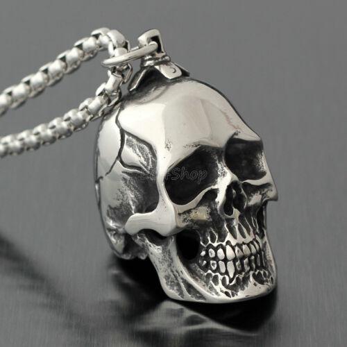 Men/'s Huge Heavy Gothique Vintage Argent Crâne En Acier Inoxydable Collier Pendentif