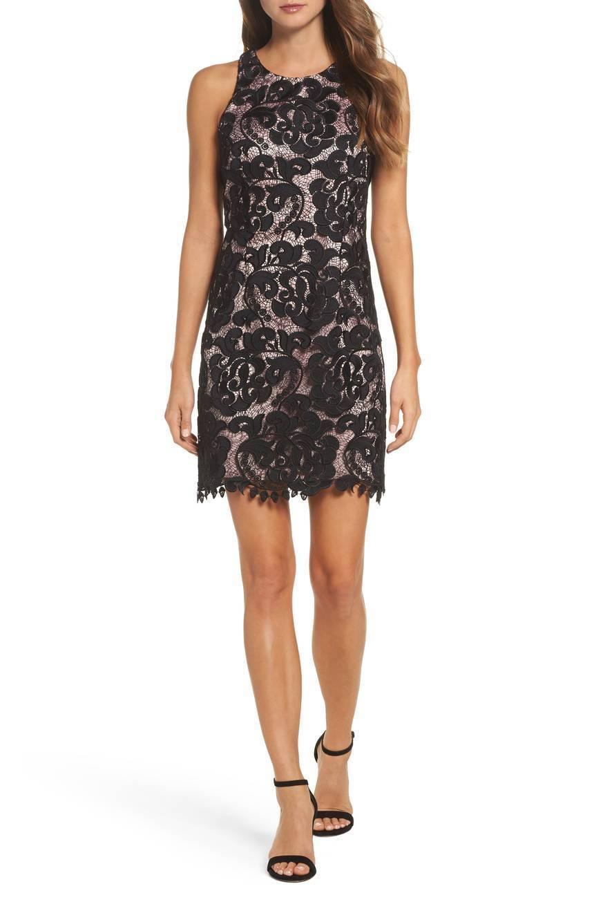 NWT Eliza J Lace Sheath Dress in schwarz Blaush [PETITE SZ 2P ]  N939