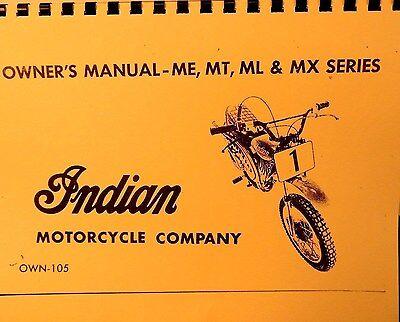 1973 Bks. Indiano Moto Manuale Proprietari Parti E Uomo. Per Me Mt Ml & Mx Rapida Dissipazione Del Calore