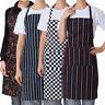 Restaurant Adjustable Stripe Bib Apron with 2 Pockets Chef Waitress Kitchen Cook