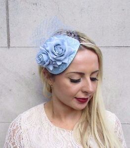 Pale Light Blue Rose Net Flower Fascinator Teardrop Races Wedding ... 3859445124d