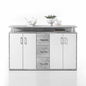 kommode drift highboard sideboard in beton optik grau und wei inkl aufsatz ebay. Black Bedroom Furniture Sets. Home Design Ideas