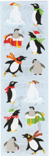 Grossman/'s Stickers Snow Santa Hat 4 Strips Mrs Holiday Penguins Scarf