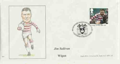 First Day Cover Celebrating the Rugby League centenaire en 1995-Jim Sullivan