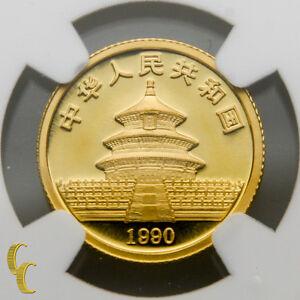 1990-Gold-Chinese-Panda-1-10-oz-10-Yuan-Graded-by-NGC-MS-69-Large-Date