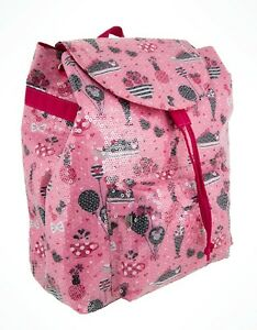 75e6bab2a28 Disney Parks Minnie Mouse Pink Glitter Book Bag Back Pack Hearts ...