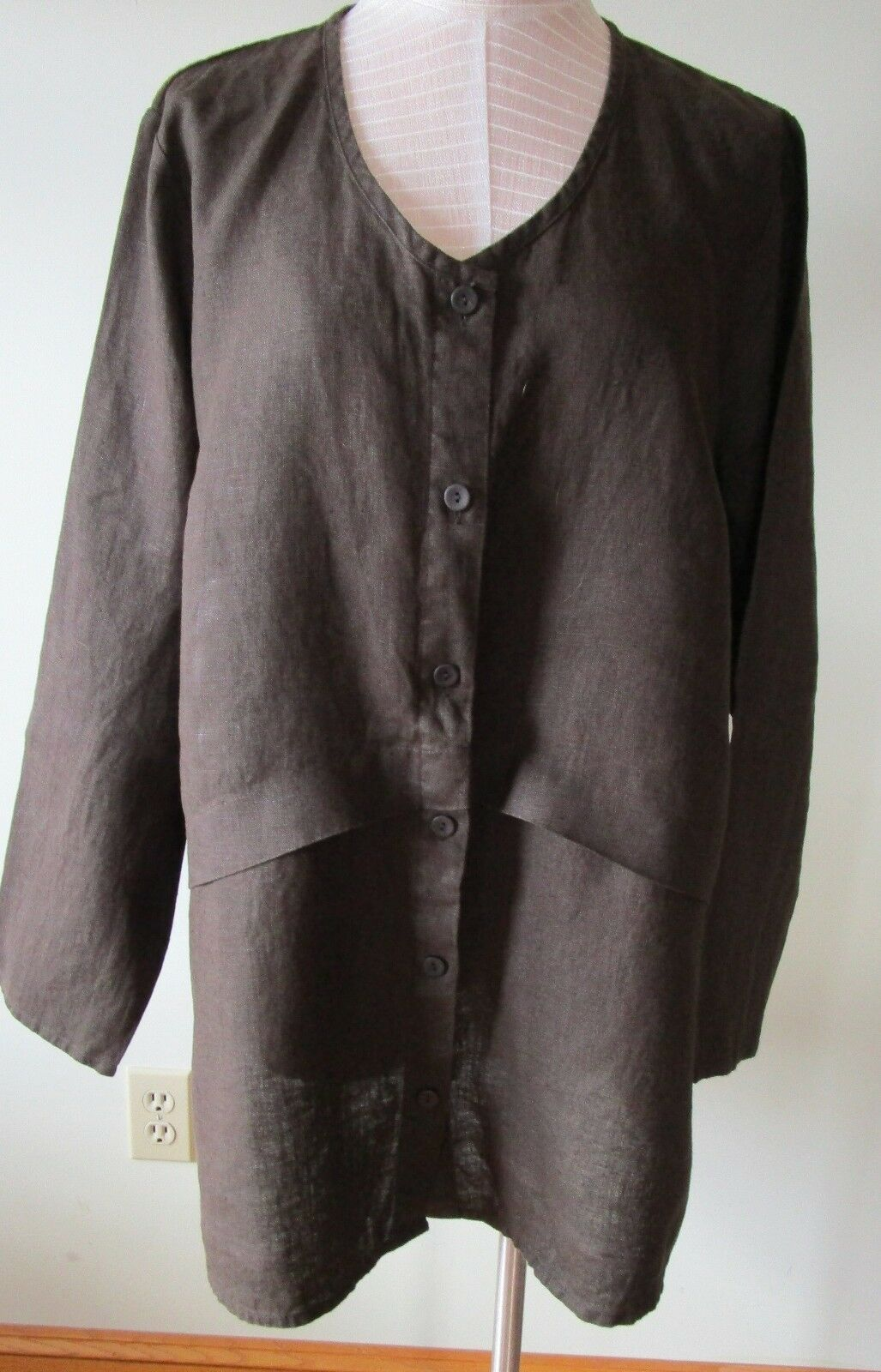 FLAX  Designs  LINEN  Extended  Cardigan  L      NWT   COFFEE