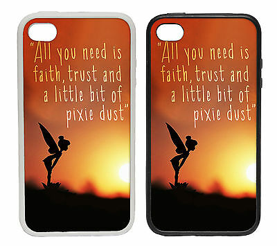 Tinkerbell Silhouette Quote -Rubber and Plastic Phone Cover Case Disney Inspired