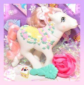 My-Little-Pony-MLP-G1-Vtg-1989-Merry-Go-Round-Carousel-Flower-Bouquet-BRUSH