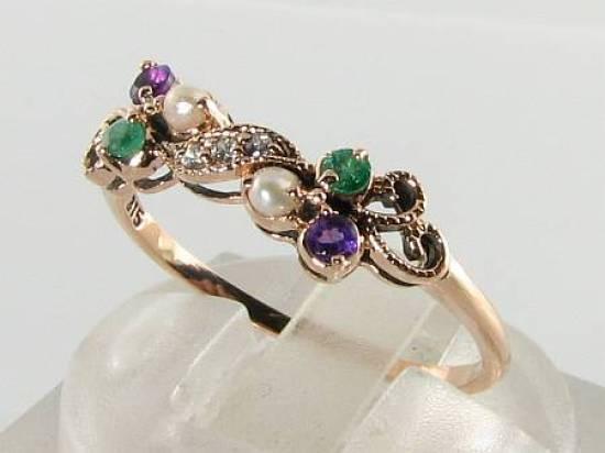 SUFFRAGETTE 9K 9CT rosa oro AMETISTA SMERALDO SMERALDO SMERALDO Pearl Diamante Anello Art Deco INS 7df4ee