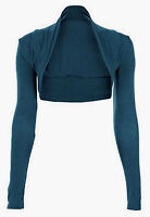 Ladies Plain Collared Cropped Long Sleeve Bolero Shrug Jacket Top Cardigan