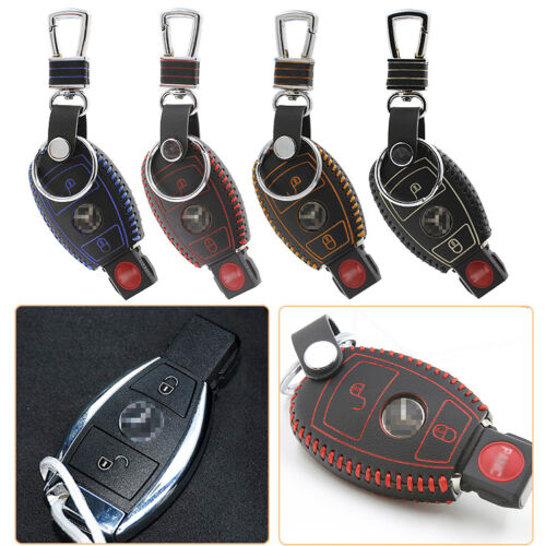 High Quality leather Smart Remote Key Case Cover Holder For Benz Series 2 Button