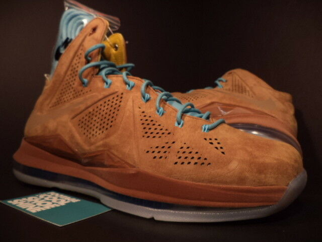 Nike Air Max LEBRON X 10 EXT QS HAZELNUT BROWN TIDE POOL blueE 607078-200 NEW 8.5