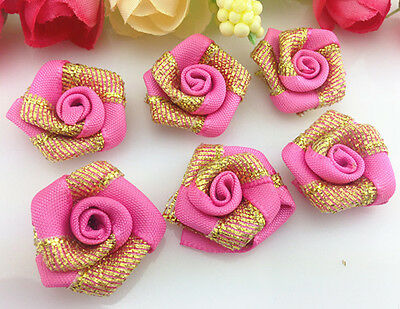 DIY 10-100 PCS gold Glitter Satin Ribbon Rose Flower Wedding Appliques,Craft