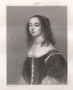 Honorine-of-Glymes-Grimberghe-Countess-of-Boussu-Duchess-Guise-Engraving-Xixth