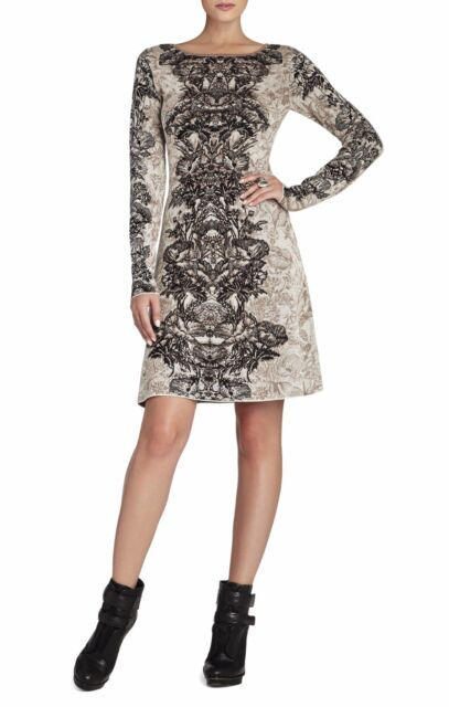 68d0dfe378e BCBG Max Azria French Cream Co Regan Etched Floral Ngs6y719 b43 Dress Size L