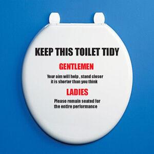 keep this toilet tidy toilet seat vinyl sticker humorous