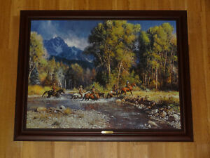 Martin-Grelle-034-Before-the-River-Rises-034-Framed-Giclee-Painting-Canvas-signed-039-d
