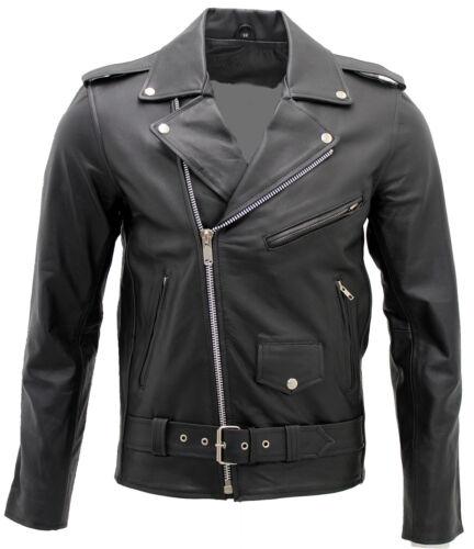 hommes élégante Veste en pour Brando de cuir motard noir 4qO10w