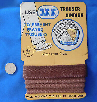 Vintage haberdashery Iron-on Trouser Hem Binding 1950s 1960s Brown