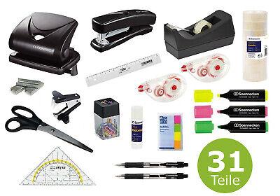 Heftklammer Schreibtisch-Set Business 3-teilig Locher Tacker