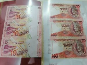 Willie: YS & AA Malaysia 10 ringgit uncut note 6 in 2 matching numbers UNC RM10