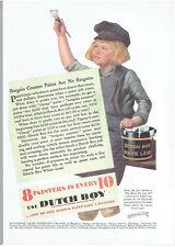 Vintage, Original, 1931 - Dutch Boy White Lead Paint Advertisement - Enamel