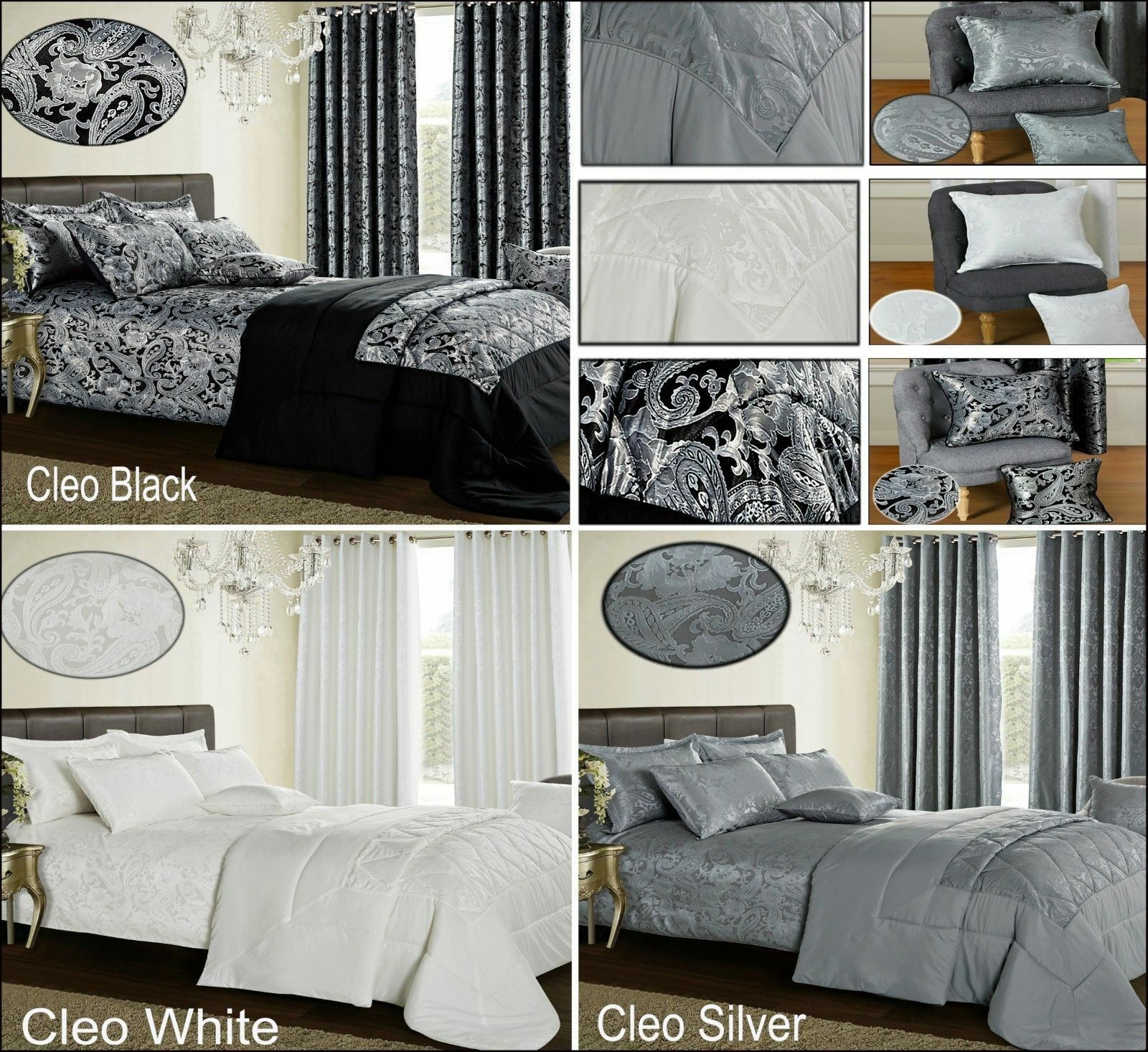 3Piece Jacquard Quilted Bedspread Comforter Bedding Set Single Double Super King