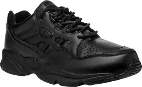 NEW Mens Propet Stability Walker Black Leather Lace Up Walking Shoes AUTHENTIC