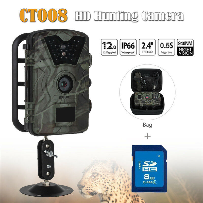 8GB 12MP Hunting Camera Trail Scouting Wildlife IR 24 LEDs+Bag CT008 Waterproof