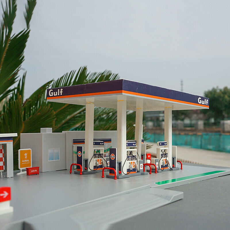 1 64 GULF Gulf Oil Gas Station Assembly Model Set of Toy Scenes