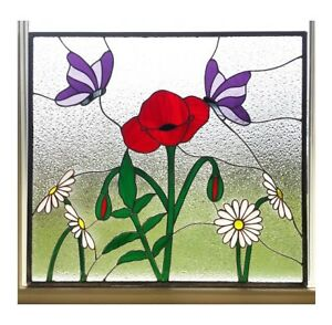 Image Is Loading Stained Gl Window Panel Poppy Daisy