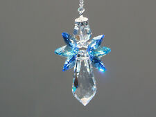 Very Blue Angel Crystal Suncatcher with Beautiful Swarovski Crystals and Prism