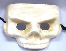 White Ivory Half Skull Paper Mache Halloween Mardi Gras Masquerade Mask