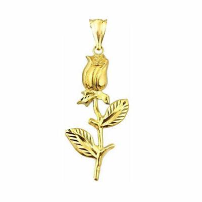 Vintage 10K Gold Detailed Rose Flower Charm Pendant