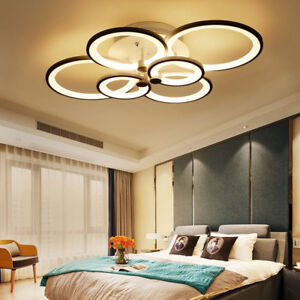 New Modern Bedroom Remote Control Living Room Acrylic 4 8 Led Ceiling Light Ebay