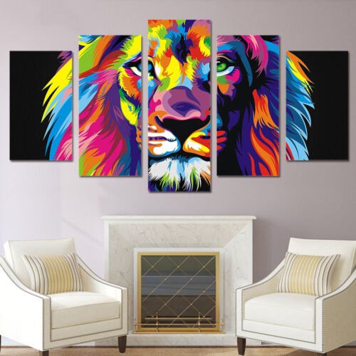 Abstract Colorful Lion Animal Painting 5 Panel Canvas Print Wall Art Home Decor