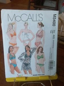 Oop-Mccalls-Suit-Yourself-5400-misses-2-pace-swimsuit-coverup-sz-4-12-NEW