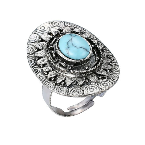 Silver Tone Vintage Faux Turquoise Stone Adjustable Ring By JADA Collections