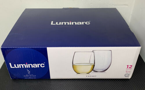 Luminarc Cachet Collection Set Of 12 Stemless Wine Glass 15oz Clear Glasses NIB