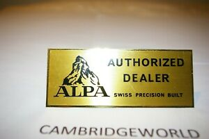 """ALPA CAMERA 41/4X13/4"""" inches GOLD COLOR METAL AUTHORIZED DEALER SIGN"""