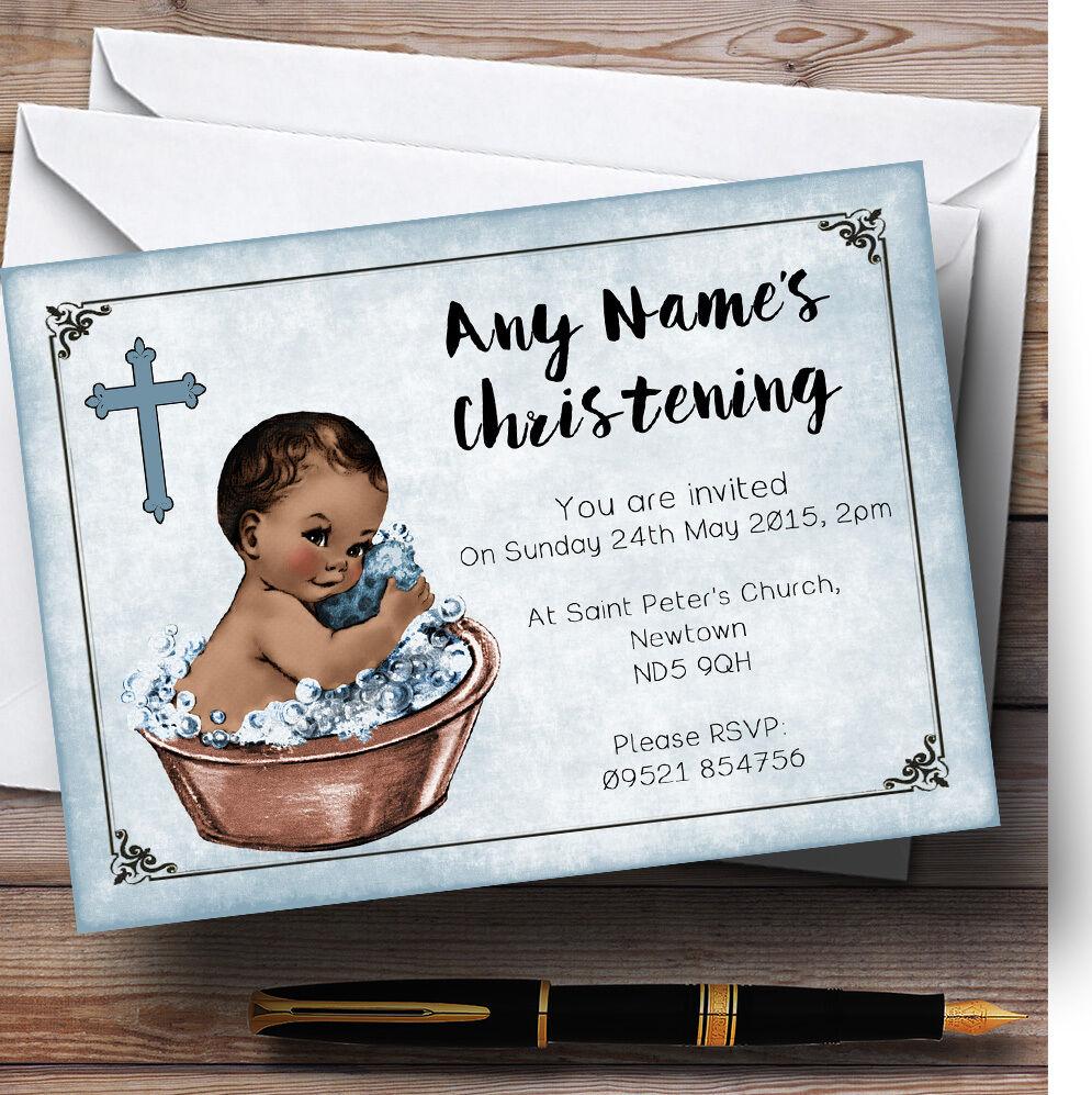 Vintage baby boy peau foncée foncée foncée invitations Personnalisées Baptême c44513