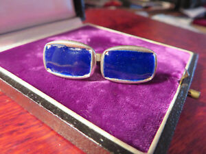 Auffaellige-Silber-Manschettenknoepfe-Email-Vintage-Retro-Blau-Ultramarin-Schlicht